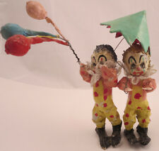 Vintage Paper Mache Art Clowns Circus Balloons Colorful Unknown Figurine Pair