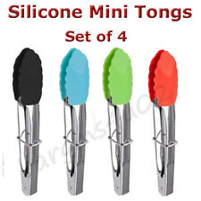 4 x Stainless Steel Silicone Mini Tongs 18cm Kitchen Salad Serving Cooking - New