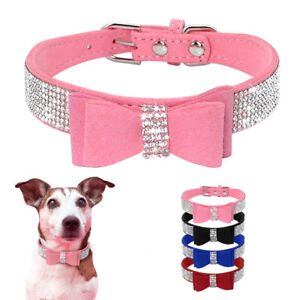 Bling Rhinestone Dog Collar Small Pet Puppy Bowknot Crystal Necklace Chihuahua