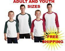Port & Company Youth & Adult 3/4 Sleeve Raglan TShirt Baseball Tee/PC55RS SM-4XL