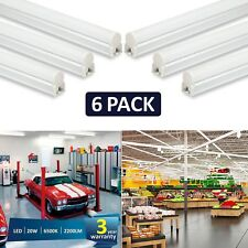 LED T5 Lights 4ft Garage Lighting 20W 2200lm Tube Lamp 6500k Shop Light 6 Pack