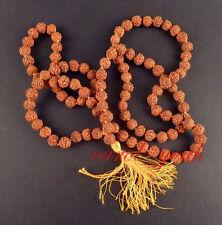 Long Tibetan 108 8mm Rudraksha Bodhi Seed Prayer Beads Mala Necklace bracelet