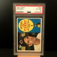 1960 Topps #324 Jim Perry All Star Rookie Cleveland Indians PSA 6 EX-NM