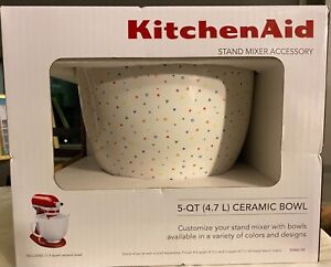 KitchenAid 5-Quart Patterned Ceramic Bowl for Tilt-Head Mixers | Confetti Spr...