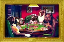 "Dogs Playing Poker A Bold Bluff Poster   36"" x 24""   Free USA Shipping"