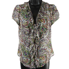LOFT Multi-Color Sheer Paisley Short Sleeve Ruffle Button Down Shirt Size MP