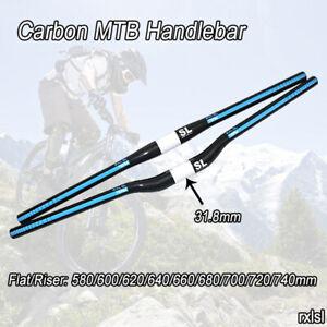 Carbon MTB Handlebar 31.8mm Mountain Bike Bicycle Flat/Riser Bar Blue 3K Glossy