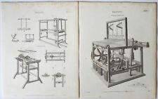 1815 & 1819 Weben Mr Austin's Engine Loom 2 antike DRUCKE STICHE Rees