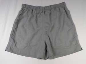 Vintage Lands End Shorts Women Medium Activewear Gray Nylon Stretch Waist USA