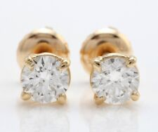 .80 Carat Natural SI1 Diamonds in 14k Solid Yellow Gold Screw Back Stud Earrings