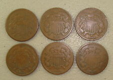 Lot of (6) Different 1864-1869 Two Cent Pieces VG
