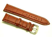 22mm L, Brown Alligator Grain Leather Replacement Watch Strap - Guess Fossil 22