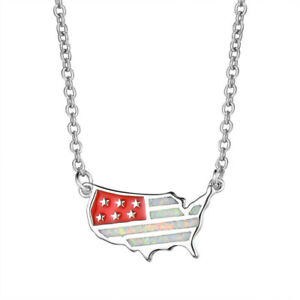 Fashion Personalized Us Flag Charm White simulated Opal Silver Pendant Necklace