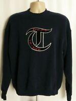 Tommy Hilfiger Vintage Navy Blue Sweatshirt Big Logo Mens XL
