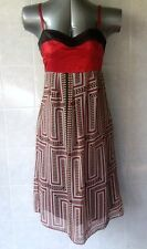 Mei Mei Dress, Red & Black, Spaghetti Straps, Satin look Bodice, Lined, Size 10