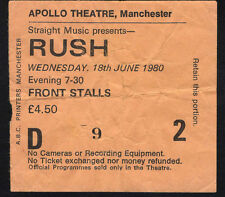 1980 Rush Concert Ticket Stub Apollo Manchester UK Permanent Waves Tour Freewill