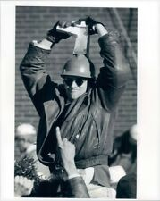 1997 Patriots Football Fan Wearing Cheese Grater Helmet at Rally Press Photo