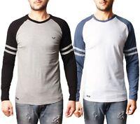 Mens Threadbare Long Sleeve Cotton Top T-shirt Raglan Crew Neck Casual MANHATTAN