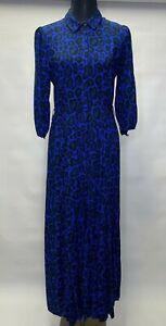 Next Blue Animal Print  Side Pocket 3/4 Sleeve Maxi Shirt Dress All Sizes