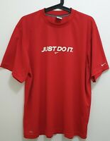 NIKE Dri Fit Mens Training Shirt Just do it Size L Active Wear Pre-Owned Red