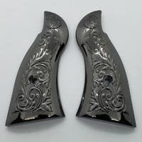 Custom Smith & Wesson Scroll Metal Grips  K-Frame Square Butt  Gloss Black  #4