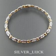 """TWO TONE 14K GOLD 0.50 CTW BAGUETTE DIAMOND ALTERNATING LINKS BRACELET 7"""" #1265"""