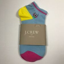 J.Crew Women's Owl Ankle Socks. Sky Blue.Cotton Blend.