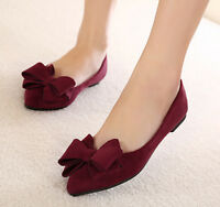 Womens Flat Bowknot Loafer Faux Suede Vintage Shoes Slip On Pointed Toe Stylish
