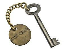 "Antique Key - Hand Engraved GUN CASE Brass Tag with HOBB's Key 2"" - ref.k350"