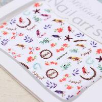 1 Sheet 3D Nail Art Stickers Flower Bird Leaf Eye Bownot Manicure Decal Tips DIY
