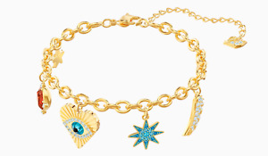 """SWAROVSKI """"LUCKY GODDESS"""" CHARMS BRACELET MULTICOLORED, YELLOW GOLD PLATED 6/24"""""""