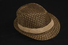 Black&Brown Plaited Fedora Hat w Beige Ribbon Unisex Brand New Fashion (S241)