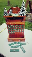 VINTAGE COUNTRY WOODEN PERPETUAL WALL CALENDAR WITH ACCENT PIECES