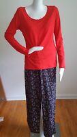 Jenni by Jennifer Moore Knit Top w/ Pajama Pant Set Sleepwear Candy Cane New S