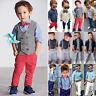 Baby Boys Kids Gentleman Outfits Suit Shirt Blazer Denim Jeans Pants Clothes Set