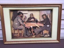 THE POKER GAME FRAMED 3 D PICTURE BLACK AMERICANA NEW! IRVING SINCLAIR