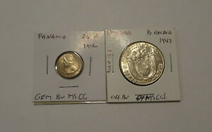 Panama 2-coin Lot: 2 1/2 Centesimos 1940 Gem BU & 1/2 Balboa 1947 Choice BU