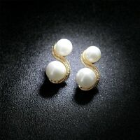 Earrings Nails Golden Two Pearl White 8 Shape Retro DD13