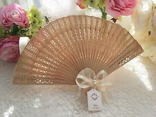 Wedding Fans with Personalised tags Guest Gift Wooden fans with Satin Ribbon x10