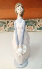 "NAO Lladro 13"" TALL girl in pink dress holding white hat w ribbons- MINT, no box"