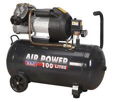 """SEALEY 100L V-Twin Pump Direct Drive Air Compressor 3Hp 1/4"""" BSP 240v SAC10030VE"""