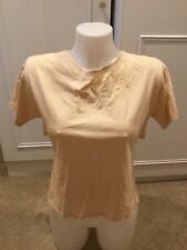 ZARA Womens Nude Short Sleeve Open Wrap Lace Up Strap Back Tshirt Size Small NEW