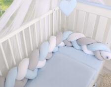 Geflochtenes Nestchen- Kopfschutz für Kinderbett- weiss- grau- blau Länge 180cm
