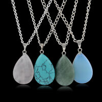 Fashion Natural Crystal Quartz Gem Healing Chakra Stone Beaded Pendant Necklace
