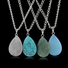Natural Crystal Quartz Gem Stone Healing Point Chakra Waterdrop Pendant Necklace
