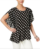 NY Collection XL New Black & White Polka Dot Blouse Flutter Sleeve Top $50 NWT