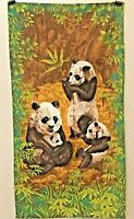 VINTAGE Wesco Reltex Panda Family Fabric Panel  Cotton Barkcloth Rare screen (f)