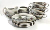 Antique nippon moriage Set Of 5 Teacups Saucers Creamer & Sugar Bowl (no lid)