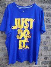Mens blue & yellow NIKE Just Do it! t-shirt. Size L