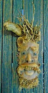 Bamboo root wood carving hanging indoor garden wooden ornament ethnic face 34cm